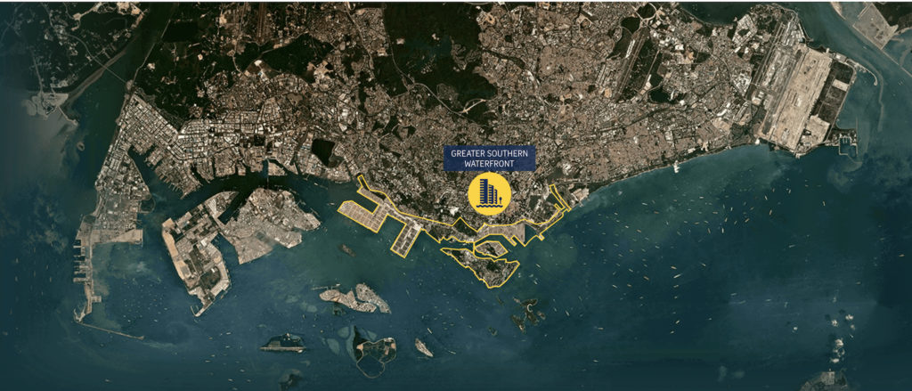 map of greater southern waterfront singapore